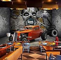 大きなポスターの壁の装飾の壁画カスタム3D壁デカール壁紙クリエイティブステレオスコピックスペースカースカルストリートグラフィティアートレストラン背景壁画-150cmx105cm(長いですx幅)