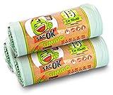 45 Sacchi Spazzatura Biodegradabili, con MANICI, 25 LITRI, 50x60 Umido e Organico, Raccolta Differenziata