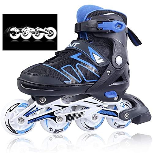 Kinder Herren Damen verstellbare Inliner Inlineskates, ABEC-7 Chrome Kugellager, Größe 26-45 Unisex Fitness Skates für Erwachsene Anfänger mädchen Jungen (Blau, XL(42-45))