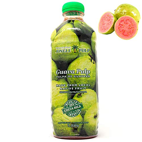 Jungle Pulp GUAVA Puree Mix Pasteurized Fruit from Costa Rica perfect for Smoothies,Cocktails, Desserts and More. 33.81 oz/ 1 Liter.