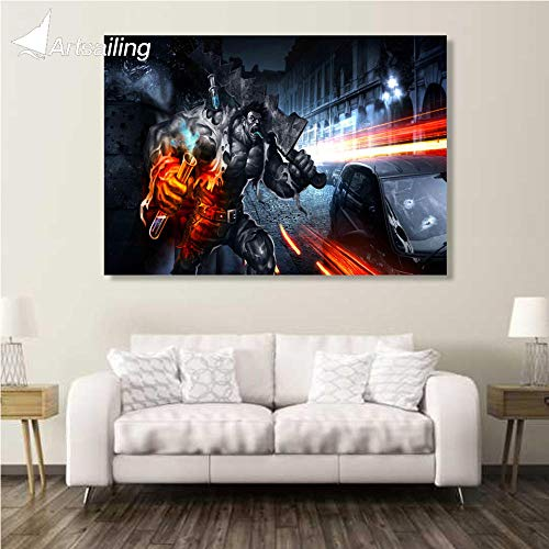 xiaoshicun 1 Pieza Canvas Art Canvas Painting Battlefield Violent HD Impreso Wall Art Home Decor Poster Pictures para la Sala XA1474C-40x60cmWithFramed