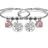Maxforever Bracelet Mum & Daughter Gifts » « The Love Between a Mother and Daughter is Forever » - Cadeau parfait pour maman et fille (argenté/rose)