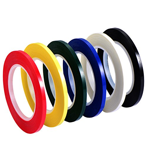 Outus 6 Pieces 3 mm Width Graphic Chart Tape Grid Art Tape Marking Tapes Whiteboard Gridding Tape Self-Adhesive Tape, 6 Colors