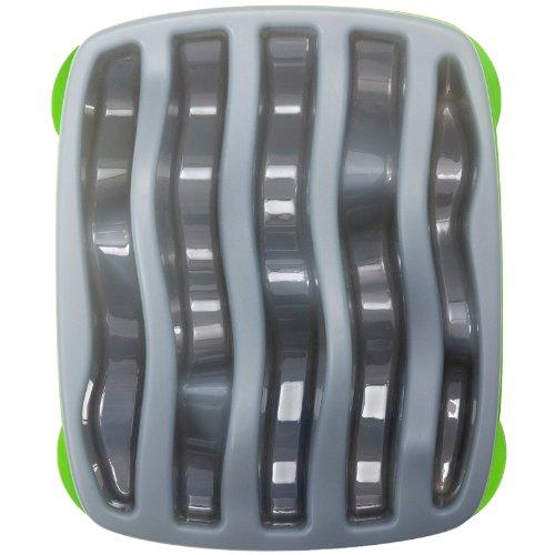 Outward Hound Kyjen  2875 Slo-Bowl Slow Feeder Slow Feed Interactive Bloat Stop Dog Bowl, Large, Grey