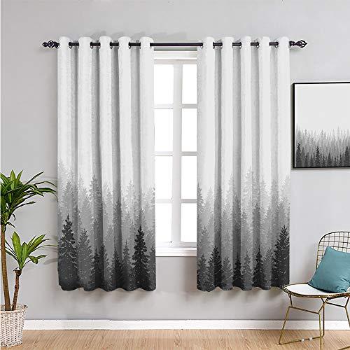 Forest Black Out - Paneles de cortina para dormitorio, cortinas de 183 cm de largo con muchos árboles, naturaleza, panorama, monocromo, madera, color blanco, gris, carbón, gris