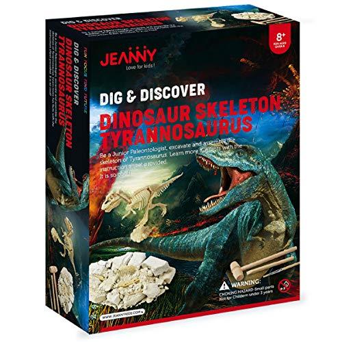 Jeanny Dinosaur Excavation Digging Fossil Kit, Educational Paleontology and Archaeology Tyrannosaurus (T-REX) Skeleton Fossil Toys, STEM Science DIY Kids Dino Dig Kit, Boys, Girls