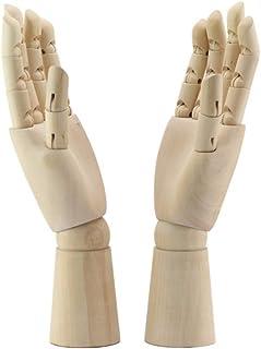 2 pièces Modèles de main en bois,URMAGIC 18cm Figure de main gauche/droite, main en bois d'art, modèle de main de mannequi...