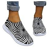 IQYU Chaussures à plateforme d'extérieur pour femme - Motif jacuzzi - En maille - Respirantes - À enfiler, Noir , 38