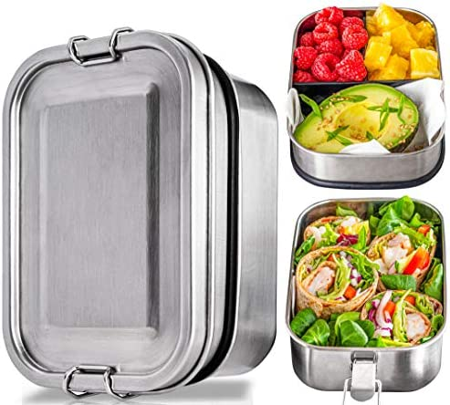 Stainless Steel Bento Box Set 2 Leak Proof Layer Silicone Sealed Bento Lunch Box for Kids Adults product image