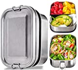 Stainless Steel Bento Box Set – 2-Leak-Proof-Layer Silicone-Sealed Bento Lunch Box for Kids,...