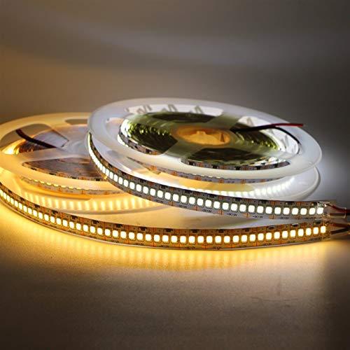 AMNVBD 5M LED Strip IP20 2835 SMD 240leds / m Doble Fila 480leds / m 300/600/1200/2400 LED 12V 24V Alta luz LED Flexible con Blanco, Blanco cálido (Color : Warm White, Size : 240LED/M-24V)