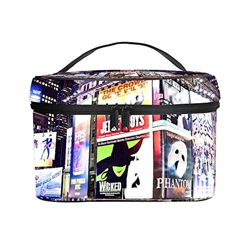 Bolso cosmético portátil del Viaje de Las señoras,Bolso del Maquillaje,Ciudad Nueva York iluminadas fachadas de teatros de Broadway en,Bolsa de Aseo multifunción Que recibe