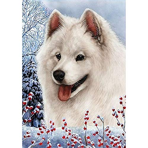Diamond Painting Cross Stitch Set for Kids Adults Beginner with Tools Eskimo Dog 11.8x15.7 in by Megei