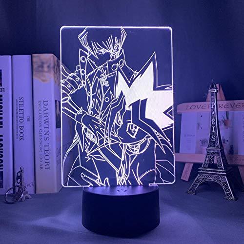 3D Anime Lámpara Yugioh Trading Card Set noche luz Yu Gi Oh para decoración de la habitación colorido cumpleaños noche luz-16 color con control remoto