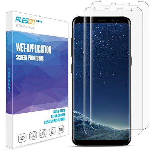 Galaxy S8 Screen Protector, [2-Pack][Full Coverage] Pleson Samsung Galaxy S8 Screen Protector...