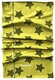 Wollhuhn ÖKO Halstuch/Multituch als Mütze tragbar, mit Sternen in Grüntönen (aus Öko-Stoffen, Bio), für Jungen und Mädchen, 20170805, Gr S: KU 48/50 (ca 1-3 Jahre)