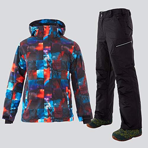 GHKUFH Traje de esquí Traje de esquí para Hombres Chaqueta de Snowboard de Invierno cálido Pantalones Impermeable Transpirable Ropa Deportiva para Exteriores Abrigo de Snowboard, 1816,068`` 818, BK,