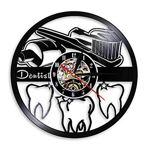 Colorido Higiene bucal Cepillo de Dientes y Pasta de Dientes Decoración de baño Reloj de Pared Dientes Cuidado Dental Clínica Disco de Vinilo Reloj de Pared Regalo de Dentista 12 Pulgadas