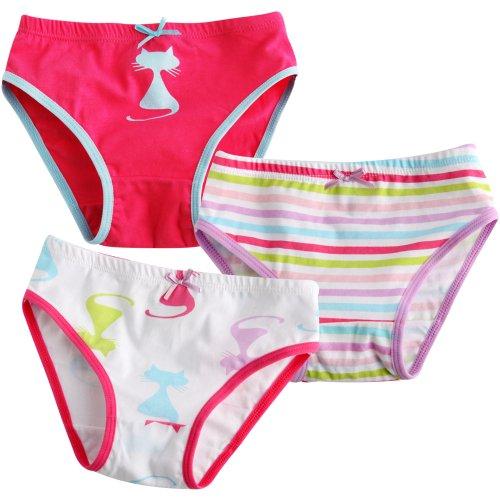 Vaenait pour bébé 2–7 ans enfants filles Sous-vêtements Slip 3-pack Lot de chats Pop - - Large