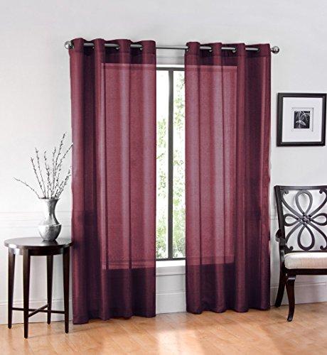 GoodGram 2 Pack Ultra Luxurious High Woven Elegant Sheer Grommet Curtain Panels - Assorted Sizes & Colors (Burgundy, 84 in. Long)