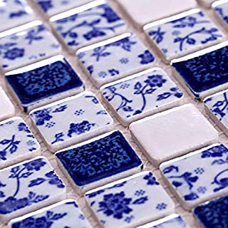 Hominter 6-Sheets Blue and White Ceramic Tile Backsplash, Glazed Porcelain Mosaic Square Tiles, Perfect for Kitchen/Bathroom/Swimming Pool ADT33