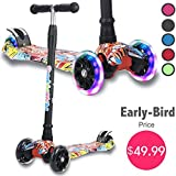 Kick Scooter for Kids, 4 Adjustable Height, Lean to Steer with PU Light Up Wheels, Training Balance Toys for Children from 2 to 13 Year-Old, Gifts for Child (Pop Grafitti B)