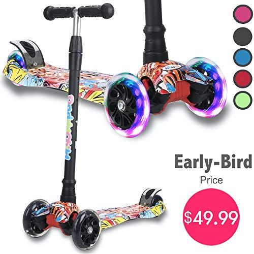 Kick Scooter for Kids, 4 Adjustable Height, Lean to Steer with PU Light Up Wheels, Training Balance Toys for Children from 2 to 14 Year-Old, Gifts for Child (Pop Grafitti B)