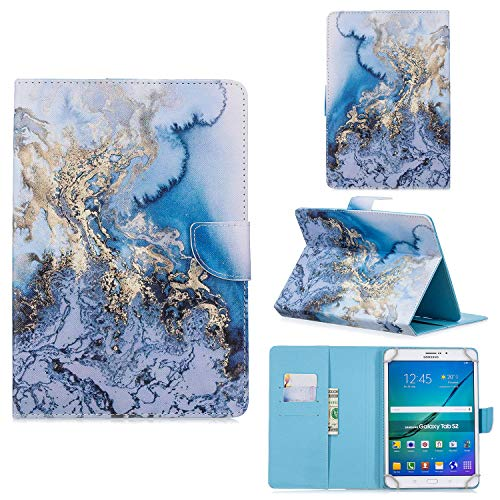 UGOcase Universal 7.5'-8.5' Tablet Case, PU Leather Protective Folio Stand Cards Pocket Wallet Case for Fire HD 8, iPad Mini, Galaxy Tab A 8.0', Lenovo, iOS Android 8 Inch Tablet, Blue Marble