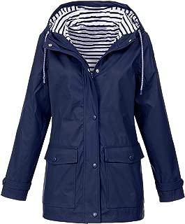 ZEVONDA Women Striped Lined Hooded Lightweight Raincoat