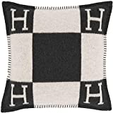 Pillowcase Decorative Throw Pillow H Pillow Case Cushion Cover Suitable for Car Sofa Bedroom 25 x 25 Inch Black