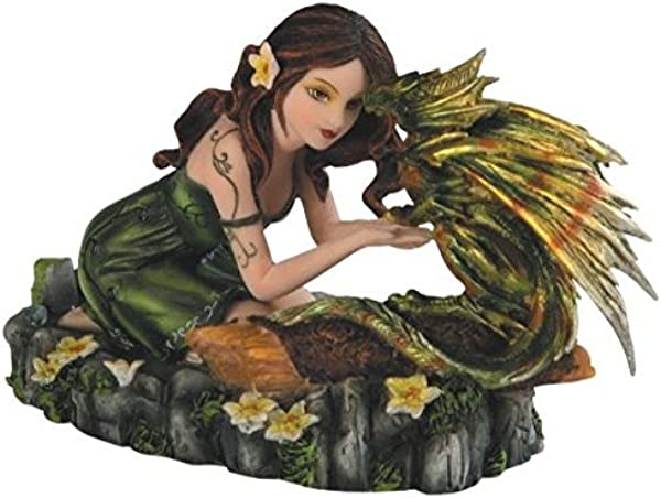 StealStreet Green Fairy Kneeling With Small Green Yellow Dragon Figurine