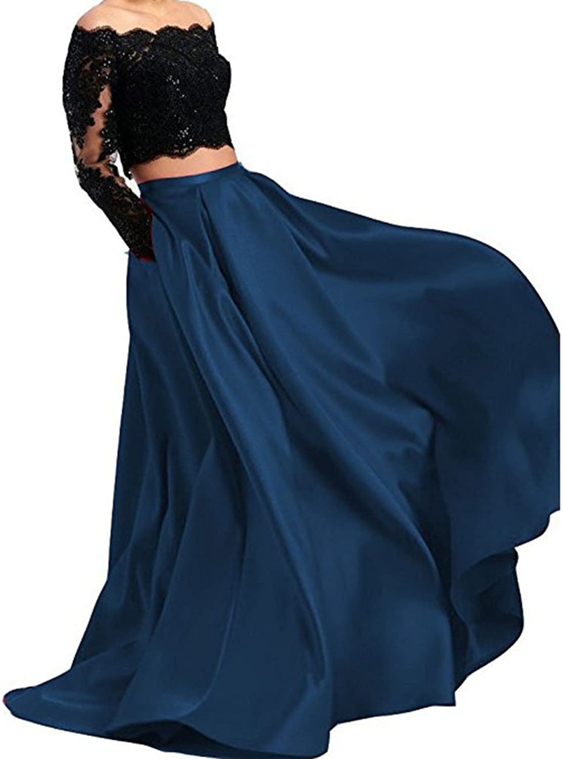 WHZZ Elegant Two Pieces Long Sleeve Lace Prom Dresses Womens Formal Evening Gowns