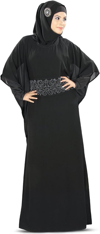 MyBatua Anum Hand Embroidered Black Muslim Kaftan KF005