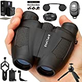 Compact Binoculars with Camera Kit! 12x25 Small Travel Binoculars for Bird Watching & Hunting Waterproof Take Pics & Videos, Concerts, Theater, Sport Events, Great Gift! Binoculars for Adults & Kids