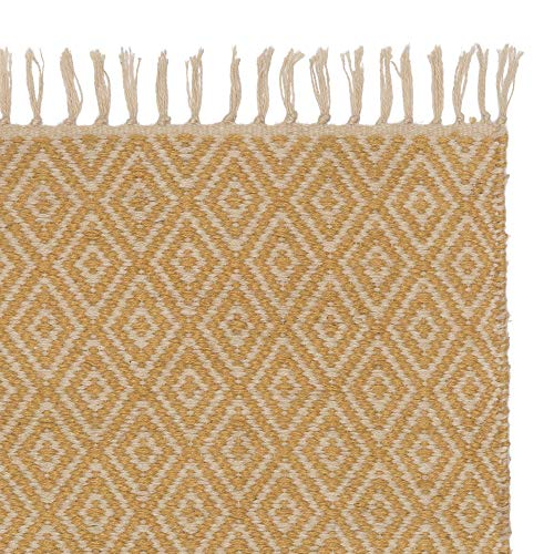 URBANARA Teppich Dasheri - 100% Jute, Senfgelb/Creme mit Rautenmuster - 140 x 200 cm. Moderner Jute-Teppich fürs Schlafzimmer, Wohnzimmer, Esszimmer