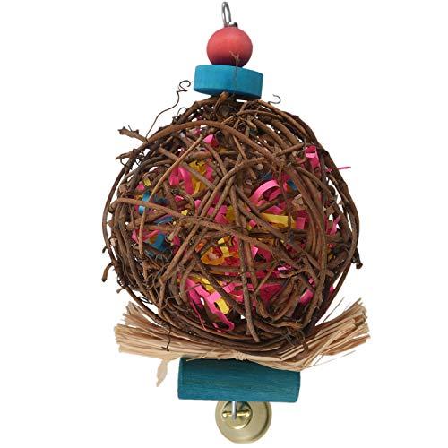 Gesh Juguete grande para masticar pájaros para loros de ratán, juguete de prevención para pájaros, loros, grises, africanos, periquitos, cacatúas, periquitos, tortolitos, jaula de juguete
