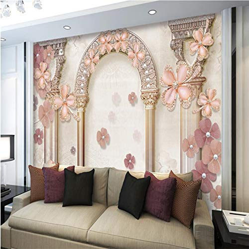 Shuangklei behang aangepaste woonkamer slaapkamer Europese stijl Romeinse kolom sieraden parel v bank schilderij 280 x 200 cm.