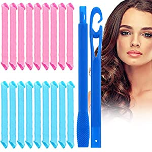 18 Piezas Conjunto de Rulos de Pelo,Rizador Pelo,Rulos para el Pelo,Rulos Flexibles,Rizadores mágicos para el cabello con gancho para peinar