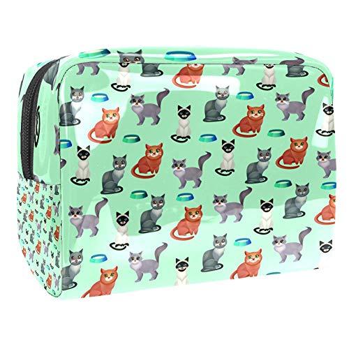 TIZORAX Kosmetiktasche für Frauen, Katzen mit Futternapf, Reise-Kulturbeutel, große PVC-Kosmetiktasche mit Reißverschluss Muster 1 18.5x7.5x13cm/7.3x3x5.1in