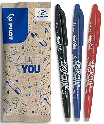 PILOT - Lot de 3 Frixion Ball - Stylo effaçable à encre thermosensible - Stylo roller rechargeable fabriqué à partir de plastique recyclé - Noir, Bleu, Rouge - Pointe moyenne