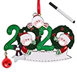 Veiai 2020 Christmas Resin Ornament, Merry Christmas Masked Santa, Souvenir Gift for New Year-Personalized Christmas Tree Decoration(Style-B, Family of 3)