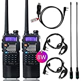 8Watt Ham Radio Baofeng Radio Baofeng Walkie Talkie with Rechargeable 3800mAh Battery UHF VHF Dual Band 2-Way Radio with TIDRADIO Driver Free Programming Cable 2 Pack