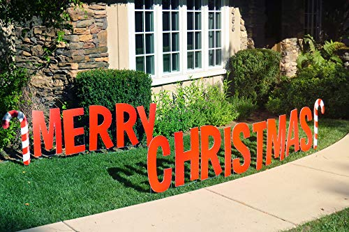 Note Card Café 16 Piece Outdoor Merry Christmas Giant Decoration Yard Display Set | 22' Individual Signs Lettering and Candy Canes Full Color Single Sided to Stake in Lawn | Stakes Included