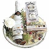 Der besondere und schön originelle Geschenkkorb In Weiß hat 3 leckere Spezialitäten als Geschenk zum Geburtstag oder zur Party. Individuelle Geschenke für Frauen Freundin Männer Partner Hochzeit Party
