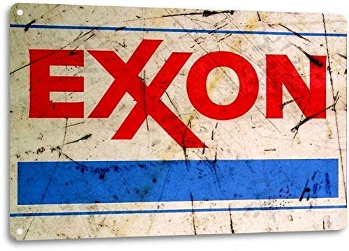 Ylens Exxon Gas Gasoline Vintage Look Garage Motor Retro Rustic Wall Decor Metal Tin Sign 8x12in