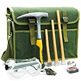 INCLY Rockhounding Geology Hammer Tool, Rock Pick Axe, 3 PCS Digging Chisels Kit, with Musette Bag, Compass, Whistle