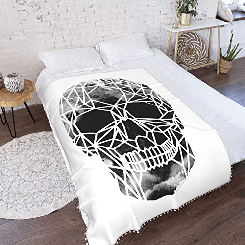 Crystal Skull Infrared Super Soft Cozy Lightweight Plush Throw Blanket, Full Size with Pompom Fringe