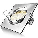 Brandson – LED Foco empotrables | Luz Extraplano | Lámpara de Techo | Ángulo Orientable | Estructura Fina de Aluminio Fundido a presión | Acero Inoxidable | Haz de luz: 120° | 230V | 4 Watt