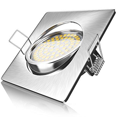 Brandson - Ultra Flacher LED Deckenspot eckig warmweiß schwenkbar - Einbauleuchte - Einbauspot Deckenstrahler - Slim Aluminium Druckgussrahmen Edelstahl Optik - Abstrahlwinkel 120 Grad