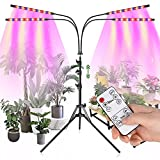 Otdair Grow Light with Stand, Full Spectrum Plant Light for Indoor Plants with Remote, 4 Heads Dimmable Floor Grow Lamp with 4/8/12H Timer for Tall Plants, Auto ON/OFF, 3 Light Modes